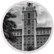 Coral Gables Biltmore Hotel In Black And White Round Beach Towel