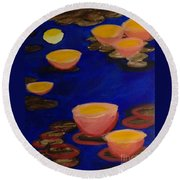 Round Beach Towel featuring the painting Coral Lily Pond by Anita Lewis