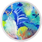 Coral Reef Dreams 3 Round Beach Towel