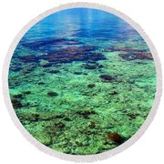 Coral Reef Near The Island At Peaceful Day. Maldives Round Beach Towel
