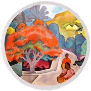 Coral Tree - Black Point Honolulu Round Beach Towel by Pg Reproductions