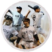 Core  Derek Jeter Mariano Rivera  Andy Pettitte Jorge Posada Round Beach Towel by Iconic Images Art Gallery David Pucciarelli