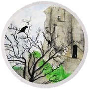 Corfe Castle And Crow Round Beach Towel
