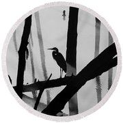 Cormorant And The Heron  Bw Round Beach Towel