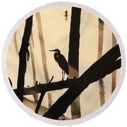 Cormorant And The Heron Round Beach Towel by Roger Becker