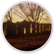 Round Beach Towel featuring the photograph Corn Cribs At Sunset by Rodney Lee Williams