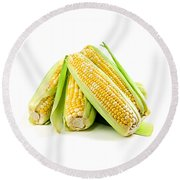 Corn Ears On White Background Round Beach Towel