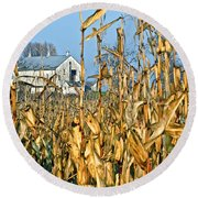 Corn Framed Barn Round Beach Towel