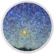Round Beach Towel featuring the painting Cornbread Moon by James W Johnson
