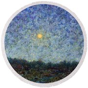 Round Beach Towel featuring the painting Cornbread Moon - Square by James W Johnson