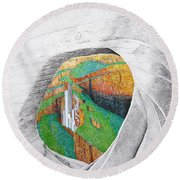 Cornered Stones Round Beach Towel by A  Robert Malcom