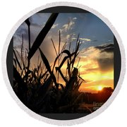 Cornfield Sundown Round Beach Towel