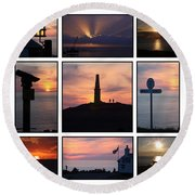 Round Beach Towel featuring the photograph Cornish Sunsets by Terri Waters