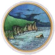 Cornwall Cliffs Round Beach Towel