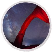 Corona Arch Milk Way Red Light Round Beach Towel