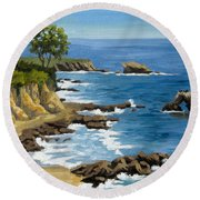 Corona Del Mar California Round Beach Towel