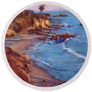 Corona Del Mar Newport Beach California Round Beach Towel