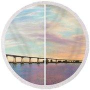 Coronado Bridge Sunset Diptych Round Beach Towel