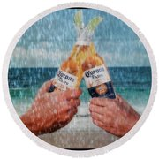 Coronas In The Rain Round Beach Towel