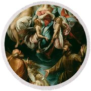 Coronation Of The Virgin With Saints Joseph And Francis Of Assisi Round Beach Towel