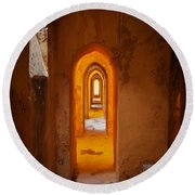 Corridor In The Real Alcazar Of Seville Round Beach Towel