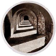 Corridors Of Stone Round Beach Towel