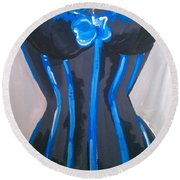 Round Beach Towel featuring the painting Corset Blue Lace by Marisela Mungia