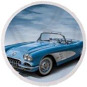 Corvette Blues Round Beach Towel