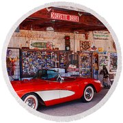 Corvette Drive Rt 66 Round Beach Towel
