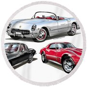 Corvette Generation Round Beach Towel