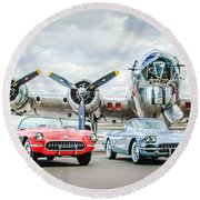 Corvettes With B17 Bomber Round Beach Towel
