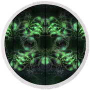 Cosmic Alien Eyes Green Round Beach Towel