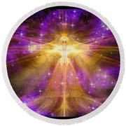 Cosmic Angel Round Beach Towel