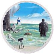 Cosmic Broadcast -last Transmission- Round Beach Towel