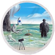 Round Beach Towel featuring the painting Cosmic Broadcast -last Transmission- by Ryan Demaree