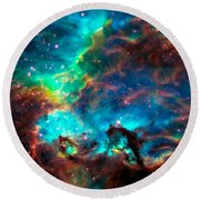 Cosmic Cradle 2 Star Cluster Ngc 2074 Round Beach Towel