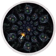 Round Beach Towel featuring the digital art Cosmic Embryos by Shawn Dall
