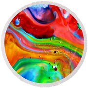 Round Beach Towel featuring the painting Cosmic Lights by Joyce Dickens
