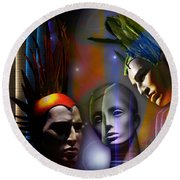 Round Beach Towel featuring the digital art Cosmic Mannequins Triad by Rosa Cobos