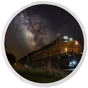 Cosmic Railroad Round Beach Towel