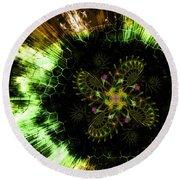 Round Beach Towel featuring the digital art Cosmic Solar Flower Fern Flare by Shawn Dall