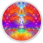 Round Beach Towel featuring the digital art Cosmic Spiral Ascension 53 by Derek Gedney