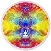 Round Beach Towel featuring the digital art Cosmic Spiral Ascension 56 by Derek Gedney