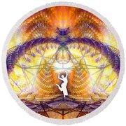 Round Beach Towel featuring the digital art Cosmic Spiral Ascension 58 by Derek Gedney