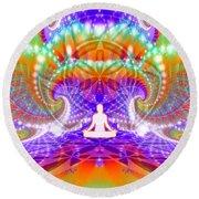 Round Beach Towel featuring the digital art Cosmic Spiral Ascension 60 by Derek Gedney