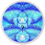 Round Beach Towel featuring the digital art Cosmic Spiral Ascension 65 by Derek Gedney