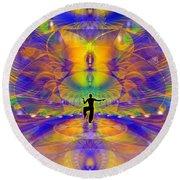 Round Beach Towel featuring the digital art Cosmic Spiral Ascension 73 by Derek Gedney