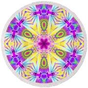 Round Beach Towel featuring the digital art Cosmic Spiral Kaleidoscope 06 by Derek Gedney
