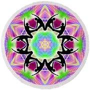 Round Beach Towel featuring the digital art Cosmic Spiral Kaleidoscope 08 by Derek Gedney