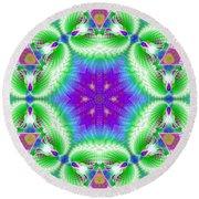 Cosmic Spiral Kaleidoscope 10 Round Beach Towel by Derek Gedney